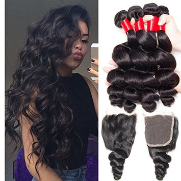 VIPbeauty Brazilian Virgin Loose Wave Hair 4 Bundle Deals With Free Part Closure Natural Black 100% Unprocessed Human Hair 95-100g/pc