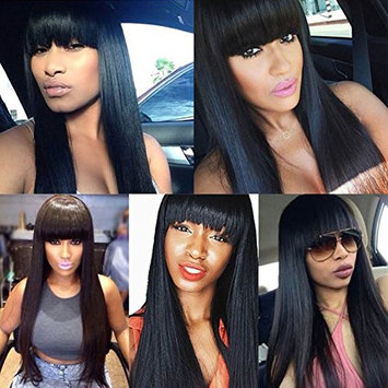 Synthetic Wigs For Women Long Straight Full Head Non Lace Wig With Flat Bangs Natural Black