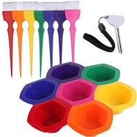 Outstanding Colorful Hair Dye Brush and Bowl Set, Rainbow Hair Coloring Brush Bowl Set-7 Color by Outstanding