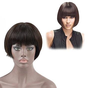 Dingli Hair Glueless Silk Straight Brazilian Virgin Human Hair Short Bob Lace Front Wigs with Bangs for American African Women Wigs