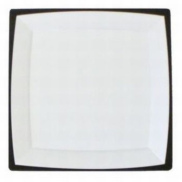 Milan Tuxedo 9-1/2 inch Square Plastic Plates White Plates with a Black Border 12 per Pack