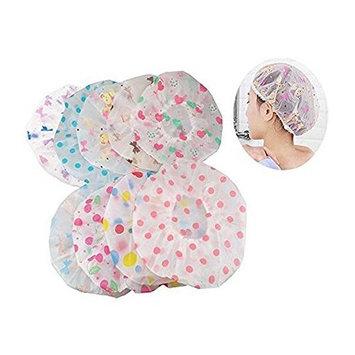 6PCS Plastic Waterproof Shower Cap Bath Cap Spa Bathing Hair Cap Lady Salon Hat for Women Girls (Color Random)