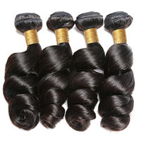 BEAUFOX Brazilian Loose Wave Hair Unprocessed Virgin Hair Bundles Brazilian Hair Natural Color Can Be Dyed and Bleached (18 20 22 24,Natural Color)