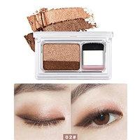 Women Pearly Eyeshadow, Vmree Women Shimmer Two-color Gradient Powder Eye Shadow Palette + Shader Brush Stamp Easy Eye Makeup Set for Beginner