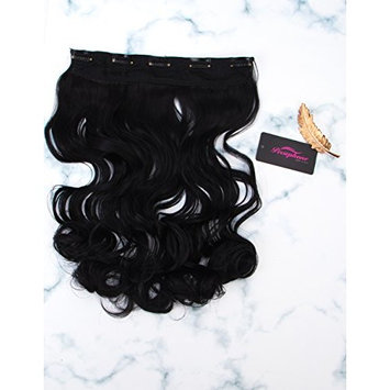 Persephone One Piece Wavy Hair Extensions Clips in Black Hair Extensions for Women 110g 24