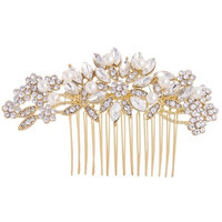 Fairy Moda Vintage Wedding Hair Accessories for Brides Crystal Simulated Pearl Bridal Hair Comb Women