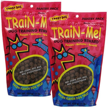 Crazy Dog Train-Me! Training Reward Dog Treats 16 oz., Bacon Regular, 2 Pack [Bacon, Regular - 2 Pack]