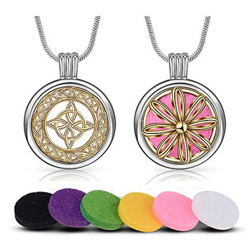 INFUSEU 2 Pack Aromatherapy Essential Oil Diffuser Necklace Two Patterns Pendant Locket Jewelry with 12PCS Refill Pads (Celtic Knot Cross + Daisy Flower)
