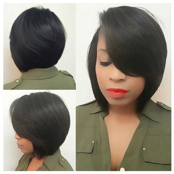Lady Miranda Short Straight Side Part Wigs with Side Fringe Pure Black Color Synthetic Hairstyle Wigs for Women