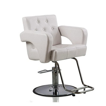 Funnylife White Hydraulic Styling Spa Salon Barber Chair with Stainless Steel Base