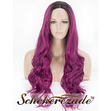 Fashion Purple Lace Front Wig 2 Tone Dark Roots Glueless Long Wavy Synthetic Wigs for Women Scheherezade Ombre wig 24 Inches