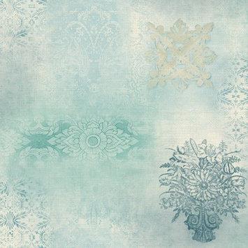 York Wallcoverings Patina Vie Prisha Patchwork Wallpaper - Blue