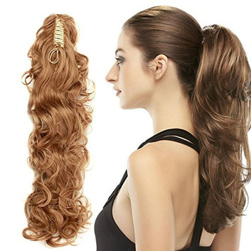 Moda Mode 30inches Curly Synthetic Ponytail Hair Extensions Clip on/in Hairpiece 220g (22# Sandy Beige)