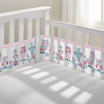 BreathableBaby® Owl Fun Breathable Mesh Crib Liner in Pink