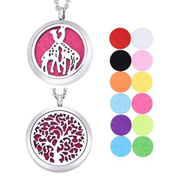 1 Set VALYRIA Tree of Life and Giraffe Aromatherapy Essential Oil Diffuser Necklace,Stainless Steel Locket