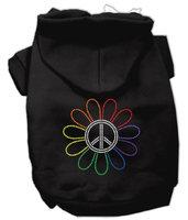 Mirage Pet Products 5469 LGBK Rhinestone Rainbow Flower Peace Sign Hoodie Black L 14