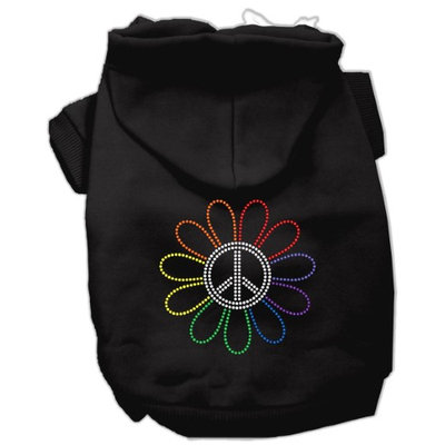 Mirage Pet Products 5469 LGBK Rhinestone Rainbow Flower Peace Sign Hoodie Black L 14
