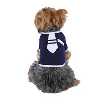 Navy Blue White Cute Necktie Tie Tee For Dog Clothing Clothes - Extra Small (Gift for Pet)