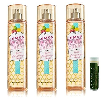 LEMON POMEGRANATE CREAM Bath & Body Works Gift Set of Fine Fragrance Mist - Pack of 3 with a Jarosa Bee Organic Peppermint Lip Balm by Jarosa Gifts