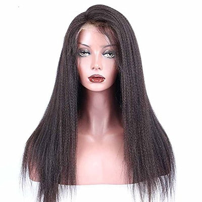 FEIBIN Lace Front Wigs For Black Women Yaki Straight Brazilian Remy Synthetic Hair Wigs 200% Density Natural Color 24 inch
