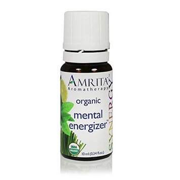 Mental Energizer Synergy Essential Oil Blend (Natural Energy Booster) Organic Therapeutic Essential Oils of Lemon, Distilled Lime, Peppermint, Ginger CO2 - Pure & Undiluted -Size: 10ML