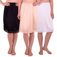 Women's Half Slip with Lace Details, Anti- Static (Pack of 3)