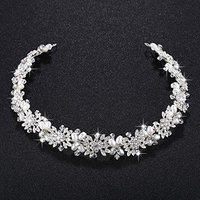 SODIAL Imitation pearl + alloy Bridal Hair Vine Pearls Wedding Hair Jewelry Accessories Headpiece Women Crowns Pageant