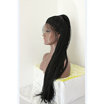 PlatinumHair synthetic handmade collection long braided lace wig for black women #1b 24inches