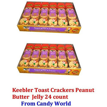 Keebler Toast (24 PACK) Peanut Butter and Jelly Sandwich Crackers Made with Real Peanut Butter and Jelly Flavored Twelve 1.8 Ounce packs