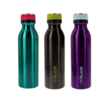 reduce COLD-1 Stainless Steel Vacuum Insulated Hydro Pro Bottle with Nonslip Rubber Base, 20oz - Tasteless and Odorless (Teal/Gray/Purple) - 3pk (Pack of 3)
