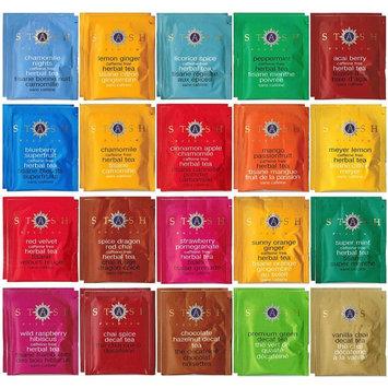 Stash Herbal & Decaf Tea Sampler - 40 Tea Bag, 20 Flavor Assortment - With By The Cup Honey Stix