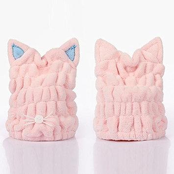 Womens Coral Fleece Hair dry Cap Ultra Absorbent Microfiber Drying Hat Cute Cartoon Cat Shower Hats Color Random(27cm23cm)