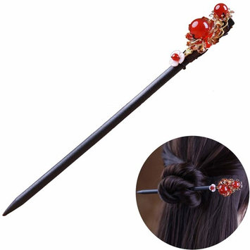 TOP SEWING Chinese Red Agate Handmade for Bride Headress Flower Hair Sticks Wooden Hairpin for Women Hair Chopsticks for Long Hair Daily B