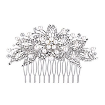 FANZE Women's Austrian Crystal Cream Simulated Pearl Flower Leaf Hollow Out Bridal Hair Comb
