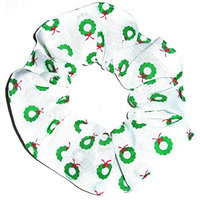 Christmas Wreaths White Fabric Hair Scrunchie Handmade by Scrunchies by Sherry