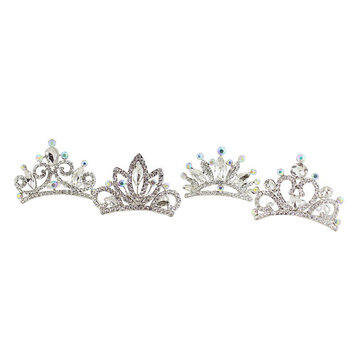 Assorted Rhinestone Tiara Combs Silver Set of 4