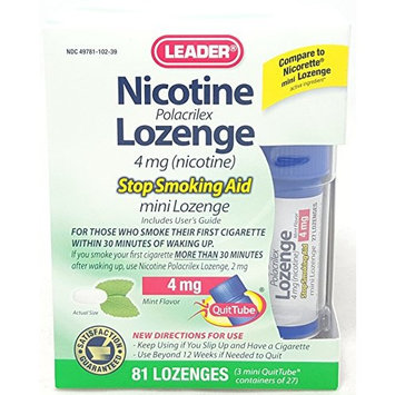 Leader Nicotine Lozenges 4 mg, Stop Smoking Aid, 81 Lozenges Per Box (6 Boxes)