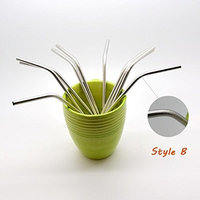 Reusable Straws - Stainless Steel Drinking - Set of 10 + 1 Cleaner Brush - Eco Friendly, Safe, Non-toxic Non-plastic