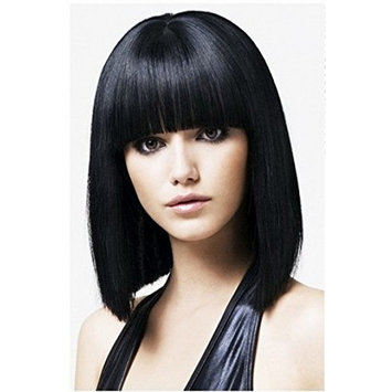 B-G Charming Hair Wig 15'' Bob Wigs Short Straight with Flat Bangs Wigs for Women Natural As Real Hair (Black) WIG061