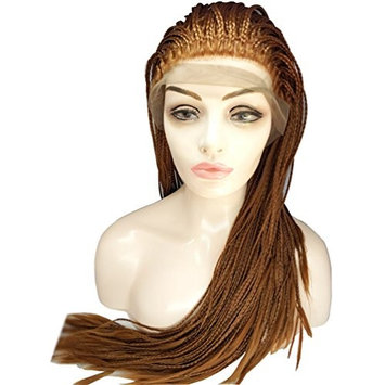 Natural Micro Braids Lace Front Wigs Synthetic Fully Handmade Tied Twist Braideds Hair Lace Wigs with Baby Hair for Black Women (Color 30#)