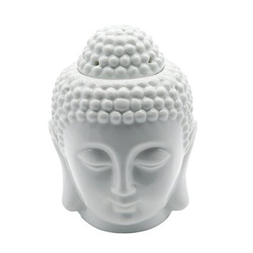Omonic Porcelain Zen Garden Yoga Meditation White Thai Buddha Head Statue Essential Oil Burner Aromatherapy Diffuser Home Decor