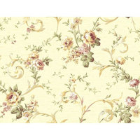 York Wallcoverings Book Floral Scroll Trail 27' x 27'' Wallpaper Roll