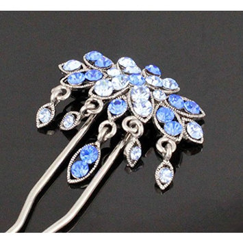 Janefashions Dangle Geisha Blue Austrian Rhinestone Stick Hair Pick Pin C1178b