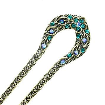 MAISHO 2pcs Peacock Blue Vintage Hair Sticks, Chinese Hair Chopsticks Decorative Hair Pins