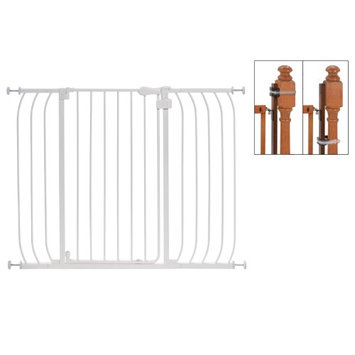 Summer Infant Multi-Use Extra Tall Walk-Thru Gate in White with Banister Installation Kit