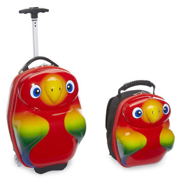 Trendykid TB106 Travel Buddies--Popo Parrot 17 Case-Plus 13 Backpack