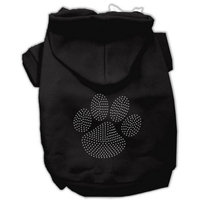 Mirage Pet Products Clear Rhinestone Paw Hoodies, Black, Size 12