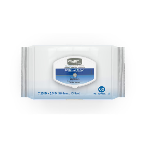 Equate Beauty Wet Cleansing Towelettes, Original Clean, 7.25