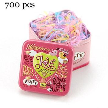 J-Beauty Kids Girl Colorful Hair Rubber Bands Elastic Hair Ties 700 Pcs In One Metal Box