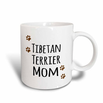 3dRose Tibetan Terrier Dog Mom - Doggie by breed - muddy brown paw prints - doggy lover - pet owner mama, Ceramic Mug, 11-ounce